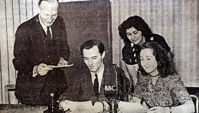 Noreen Riols during a BBC broadcast with Colonel Buckmaster, Terry Kilmartin and Margaret Lerick