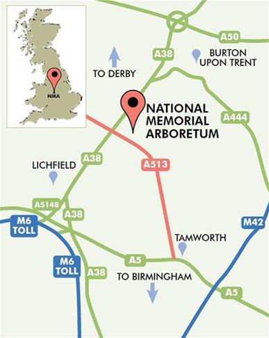 National Memorial Arboretum map