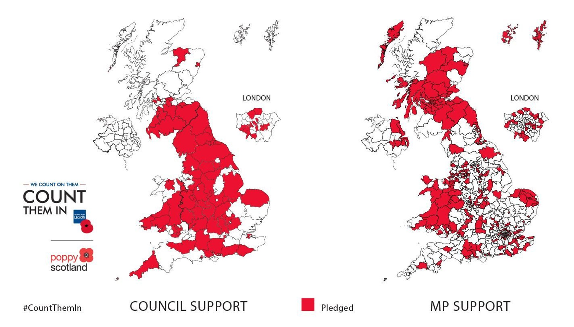 A map of the UK showing which councils and MPs support the Count Them In campaign