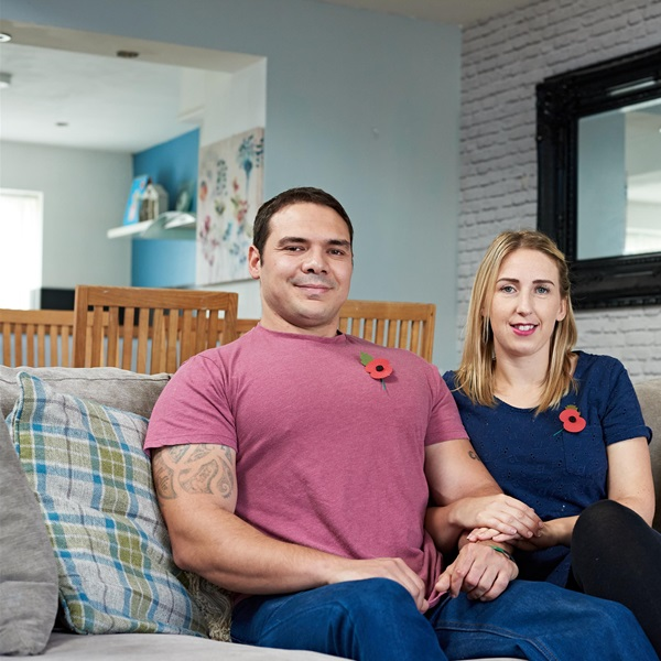 Members of the UK's ex-service community, Mark and Donna Stonelake, in their home