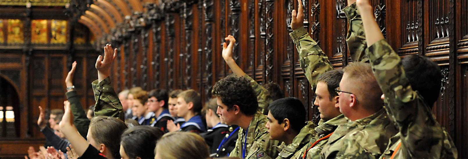 Armed Forces personnel taking part in a strategy debate