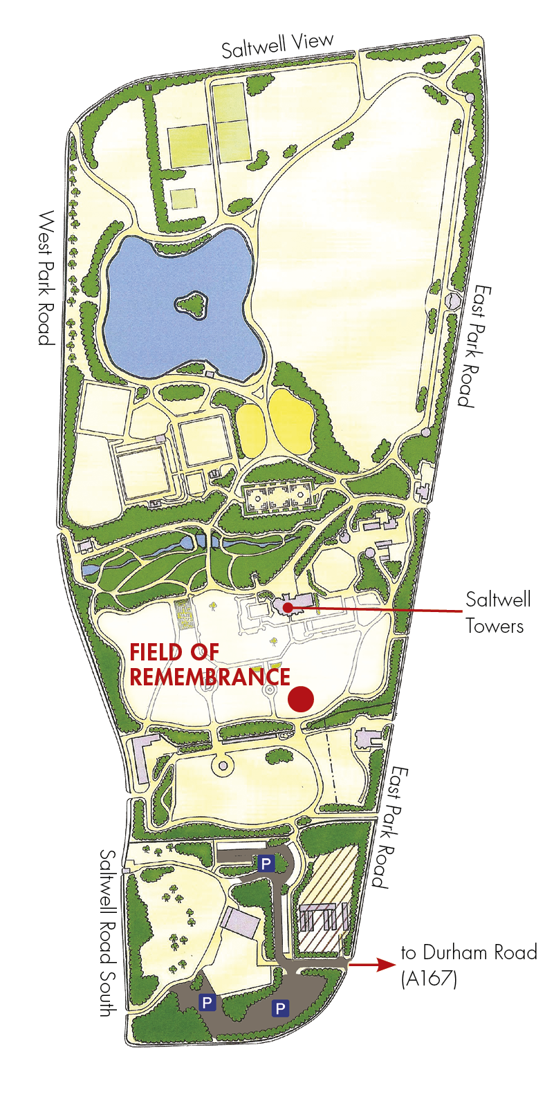 Gateshead Field of Remembrance map