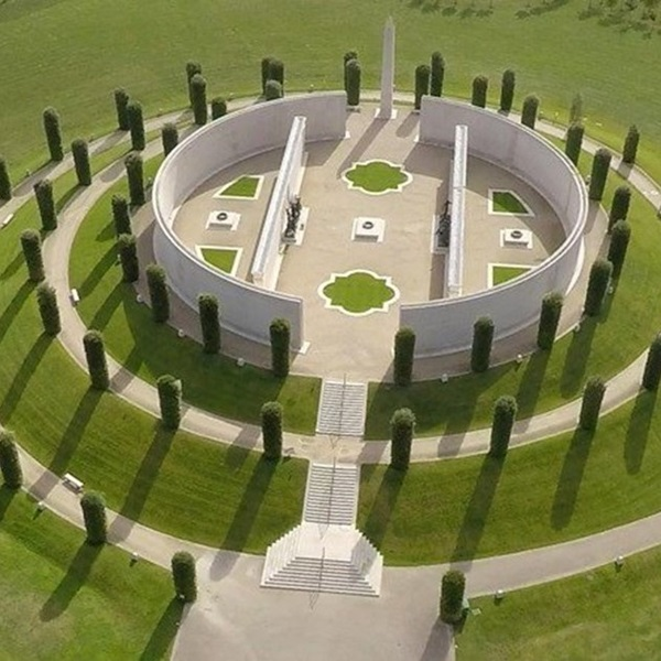 Arial view of the Armed Forces memorial at the National Memorial Arboretum