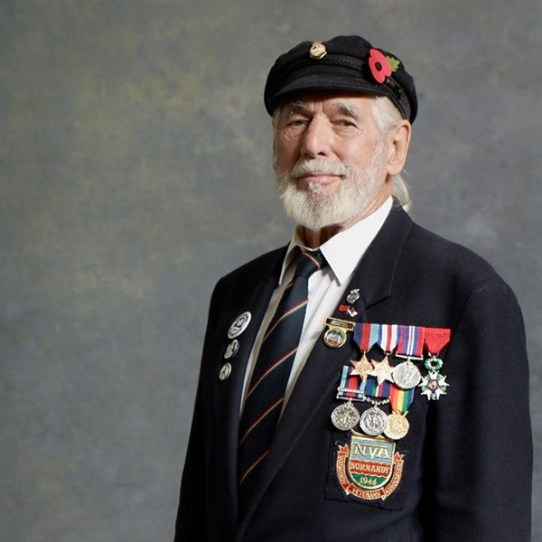 Portrait of Jim Radford donning his medals