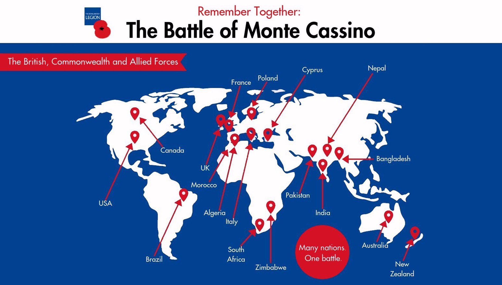 Infographic map showing where the forces at Monte Cassino came from