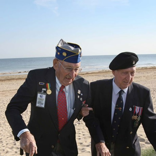 World War Two veterans at D-Day landing beaches