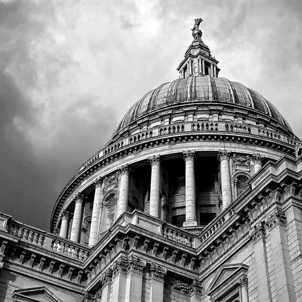 Black and white atmospheric image of St Paul's Cathedral dome