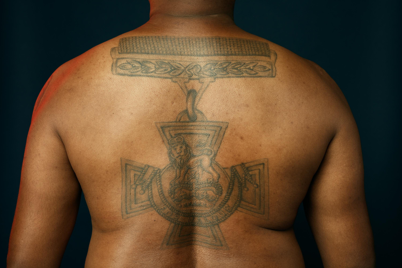 Johnson Beharry Victoria Cross tattoo close up