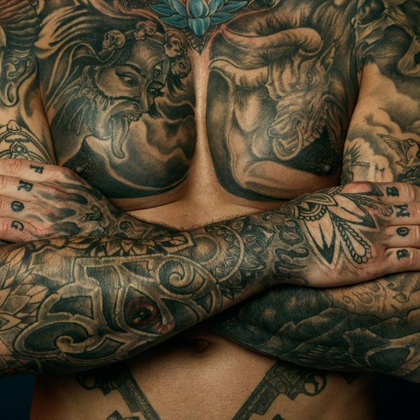 Michael Bell chest tattoos