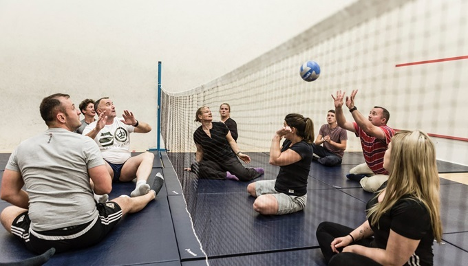 A game of seated volleyball at Battle Back Centre