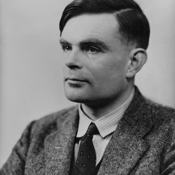 Black and white portrait of Alan Turing