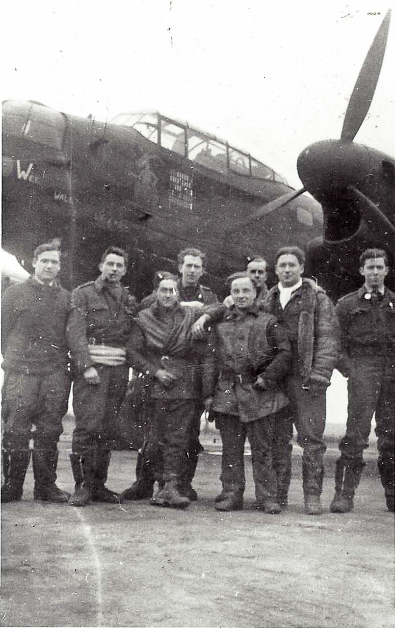 Des Lush and the crew in front of their Lancaster bomber