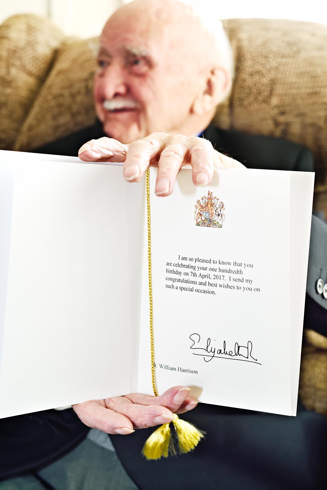 Bill Harrisons's centenary telegram from HM The Queen.