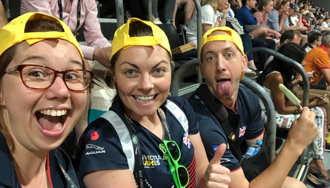 Joe and Megan cheering on competitors at the Invictus Games