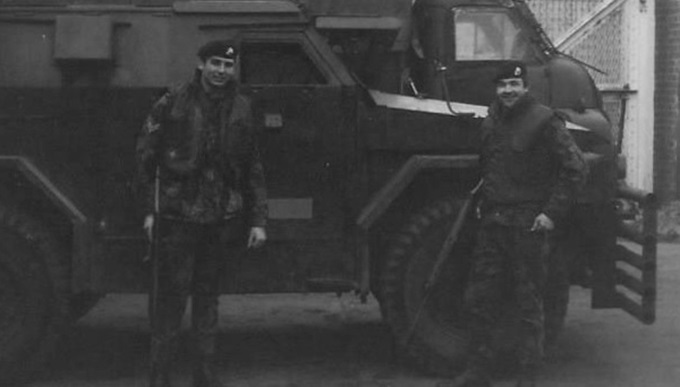 Corporal David Sismey and colleague in Belfast