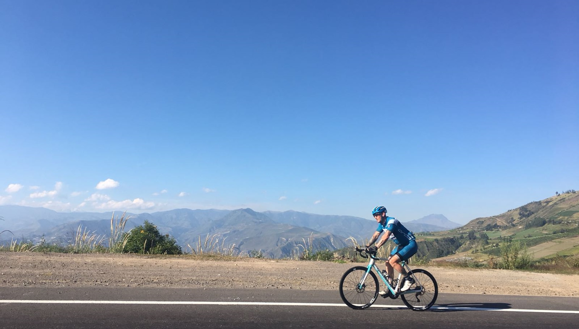 Dean cycling on the Pan-American highway