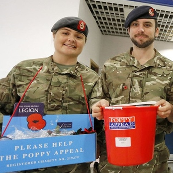 Serving personnel collecting for the Poppy Appeal