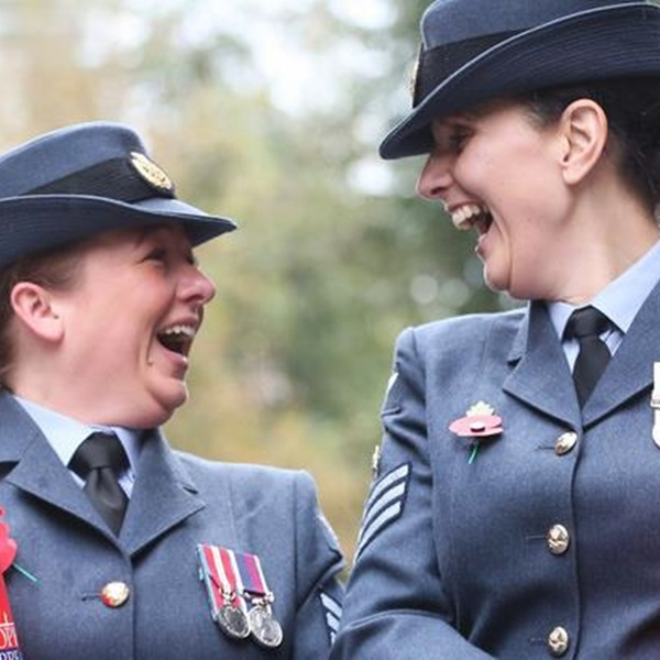 Two member of the Armed Forces volunteering during the Poppy Appeal