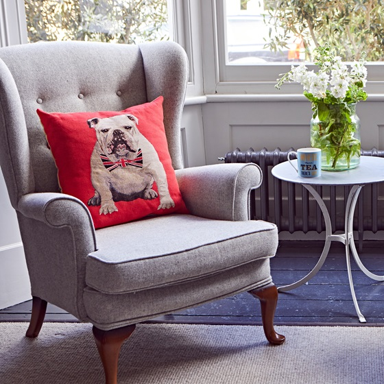 British bulldog cusion from the homeware section of the Poppy Shop